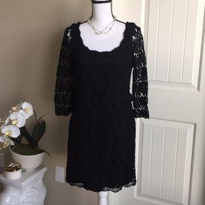 WHBM black lace mini dress